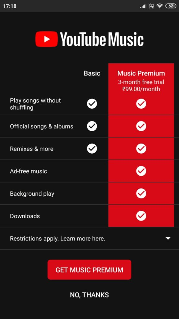 Youtube premium charges