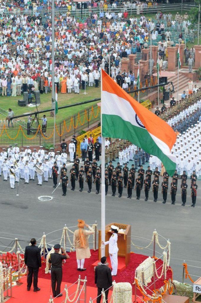Prime minister of India Hoisting flag in Red fort